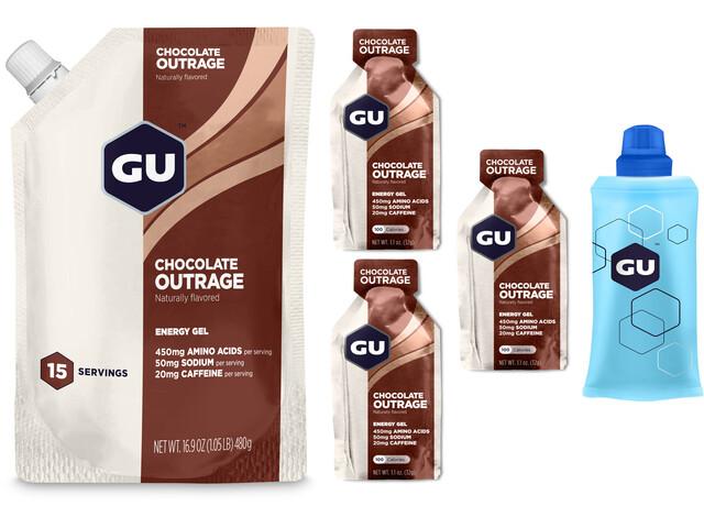GU Energy Gel Kombipaket Vorratsbeutel 480g + Gel 3x32g + Flask Chocolate Outrage